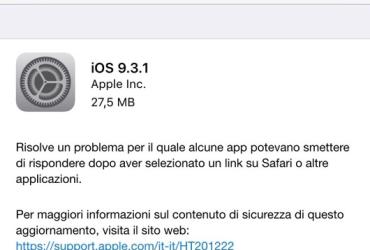 Aggiornamento di iOS 9.3.1