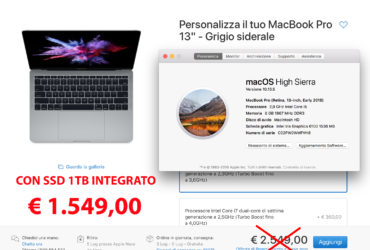 Macbook pro 13″ – CPU I5 – ram 8gb – SSD 1TB. Usato.